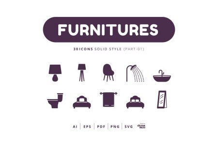 30 Icons Furnitures Part-01 Solid Style