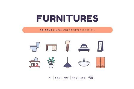 30 Icons Furnitures Part-01 Lineal Color Style