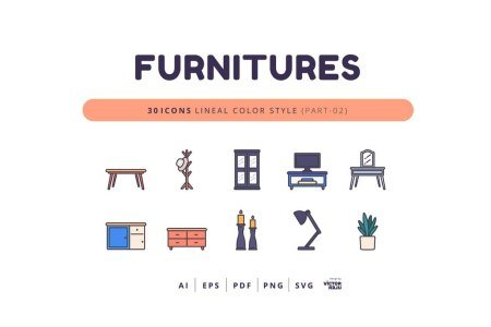 30 Icons Furnitures Part-02 Lineal Color Style