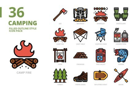 Camping Filled Outline Style Icon