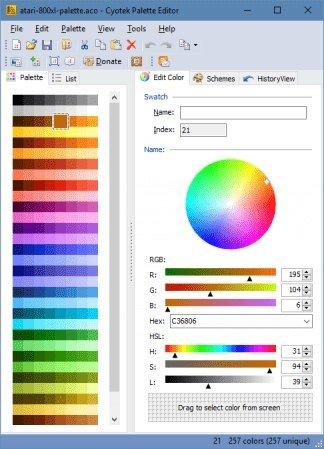 Cyotek Color Palette Editor 1.7.0.411