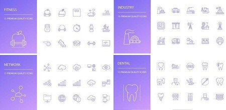 Beauty, Computer, Business, Music and Medicine Line Icons Set